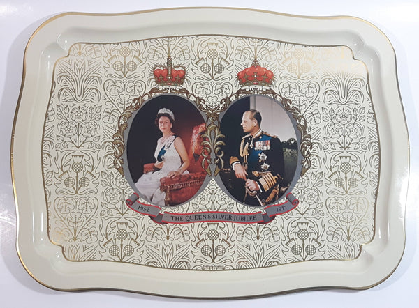 Vintage 1977 The Queen's Silver Jubilee Metal Beverage Tray British Royals Collectible