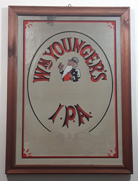 "Antique Wm. Younger's Cask Conditioned India Pale Ale Beer Pub Wood Framed Glass Advertising Mirror 13 1/2"" x 18 1/2"""