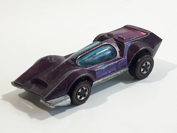 Vintage 1971 Hot Wheels Red Lines Bugeye Spectraflame Magenta Purple Die Cast Toy Car Vehicle with Opening Hood