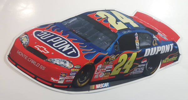 "2006 NASCAR #24 Jeff Gordon DuPont Car Shaped Embossed Aluminum Metal Sign 11"" x 24"""