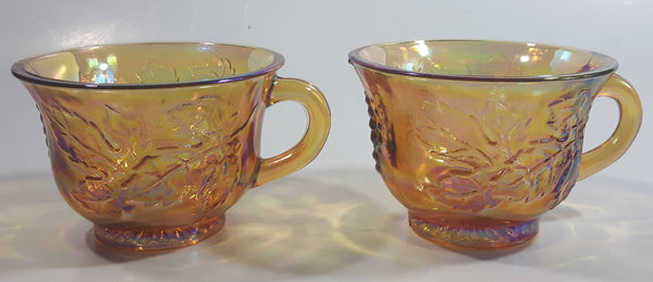 Set of 2 Vintage Indiana Carnival Glass Harvest Leaf Pattern Orange Amber Iridescent Rainbow Punch Bowl Cup