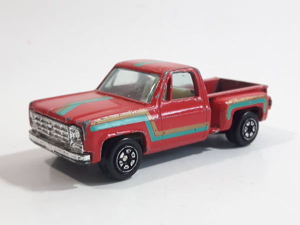 1980s Yatming Chevy Stepside Red Pickup Truck No. 1601 Die Cast Toy Car Vehicle - Made in China