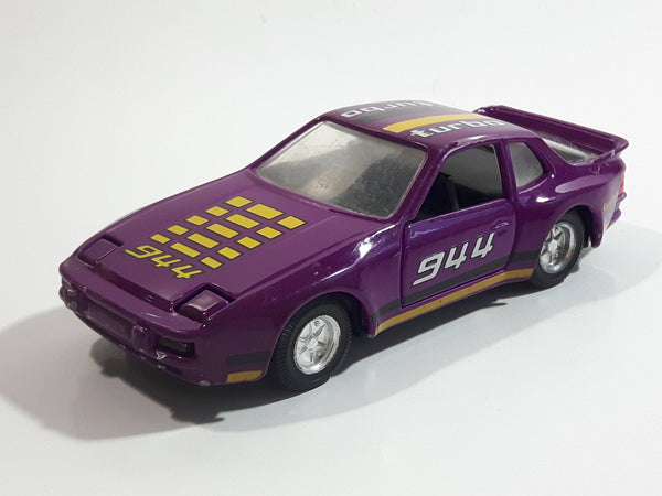 Vintage Yat Ming No. 8307 Porsche 944 Turbo Purple Pull-Back Friction Motorized Die Cast Toy Car Vehicle with Opening Doors and Flip up Headlights