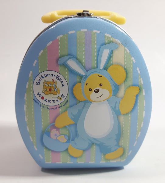 Build-A-Bear Easter Bunny Themed Small Lunch Box Style Tin Metal Container with Handle