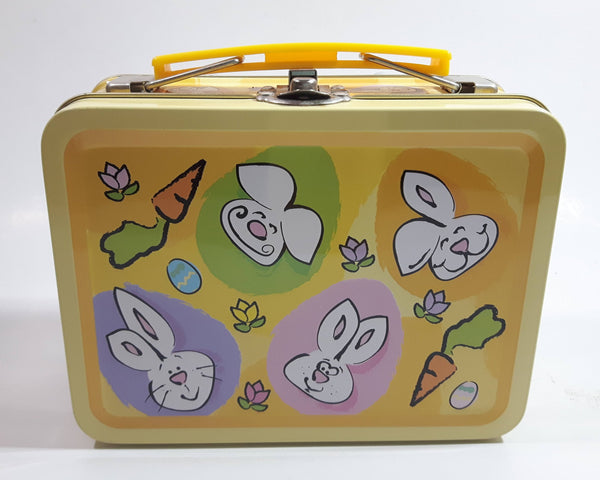 Easter Bunny Themed Small Lunch Box Style Tin Metal Container with Handle