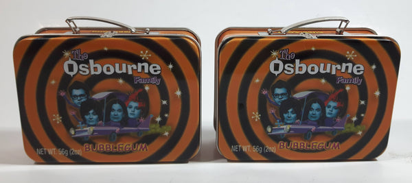 2002 JOKS The Osbourne Family Bubble Gum Miniature Lunch Box Style Tin Metal Container Set of 2