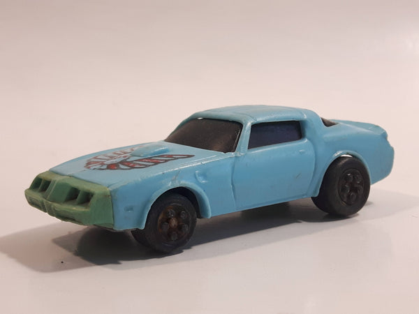 Vintage 1980 Kidco Key Cars Firebird Light Blue Plastic Body Die Cast Toy Car Vehicle