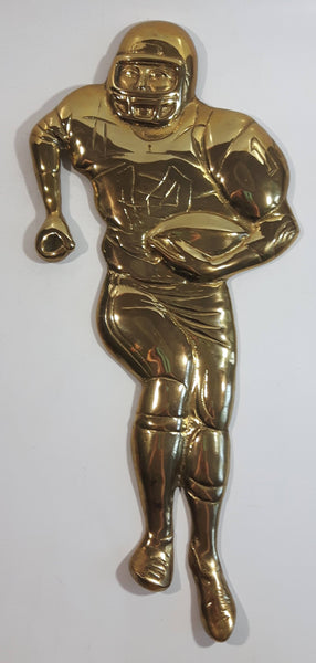 "Vintage Brass Football Player Wall Decor Hanging 15"" Tall"