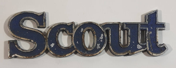 Vintage Jeep Scout Blue Metal Car Automobile Emblem Name Plate Letters Auto Part