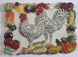 "Vintage Fitz & Floyd Classics Handcrafted Country Hens Two Chickens Detailed Ceramic Wall Plate 8 3/4"" x 12"""