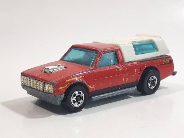 Vintage 1982 Hot Wheels Hi Rakers Dodge D-50 Pickup Truck Red with White Canopy Die Cast Toy Car Vehicle