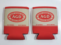 Big Rock Brewery AGD Alberta Genuine Draft All Natural Batch Brewed Red and Tan Beer Can Drink Koozie Set of 2
