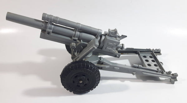 Vintage 1950s LUMAR Cannon Artillery Grey Plastic Military Army Toy with Mechanical Launcher