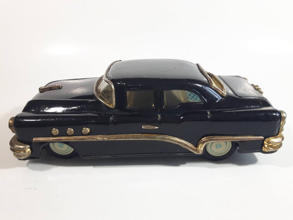 Rare Vintage 1950s Mitsuhashi Buick Sedan Black with Gold Chrome Trim Pullback Motorized Friction Tin Litho Toy Car Vehicle - 5220