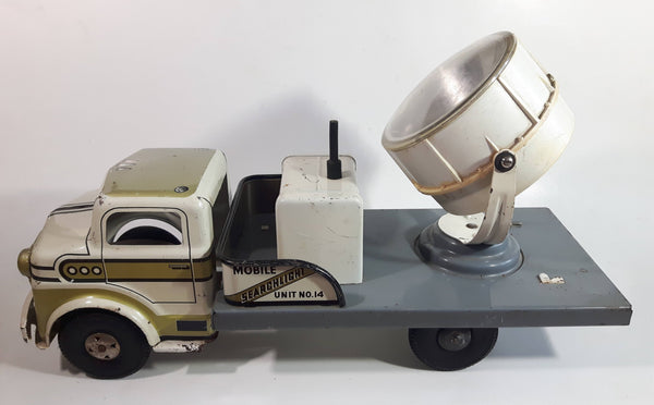 "Vintage 1950s Marx Mobile Searchlight Unit No. 14 Truck White and Grey Pressed Steel Toy Car Vehicle 17"" Long"