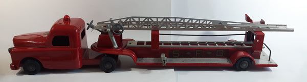 "Vintage 1950s Structo Fire Engine Aerial Ladder Truck S.F.D. Red Pressed Steel Truck and Trailer Toy Car Vehicle 33"" Long"