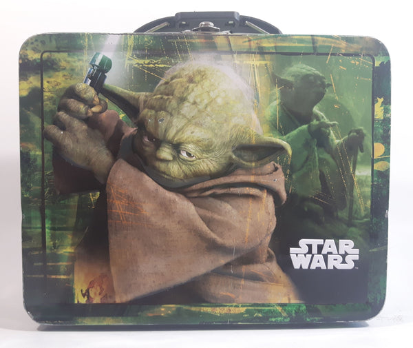 2010 Star Wars Yoda Jedi Master Green and Black Embossed Tin Metal Lunch Box