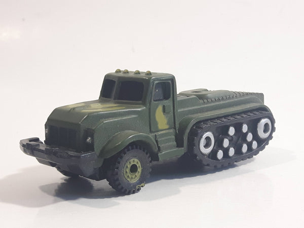 Unknown Brand Military Army Semi Truck with Tracks Dark Green Camouflage Die Cast Toy Car Vehicle