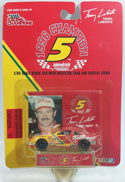 1997 Racing Champions 1996 Champion #5 Terry Labonte Kellogg's Chevrolet Monte Carlo Red Yellow Die Cast Toy Race Car Vehicle with Collector Card and Display Stand - New in Package Sealed