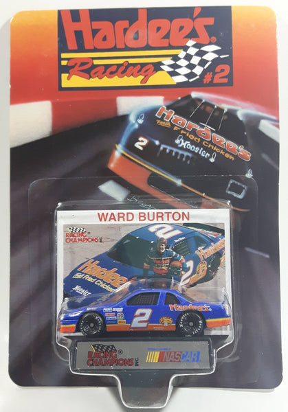 1993 Racing Champions Hardee's Racing #2 Ward Burton Hardee's Fresh Fried Chicken Mello Yello Chevy Lumina Dark Blue Die Cast Toy Race Car Vehicle with Collector Card and Display Stand - New in Package Sealed