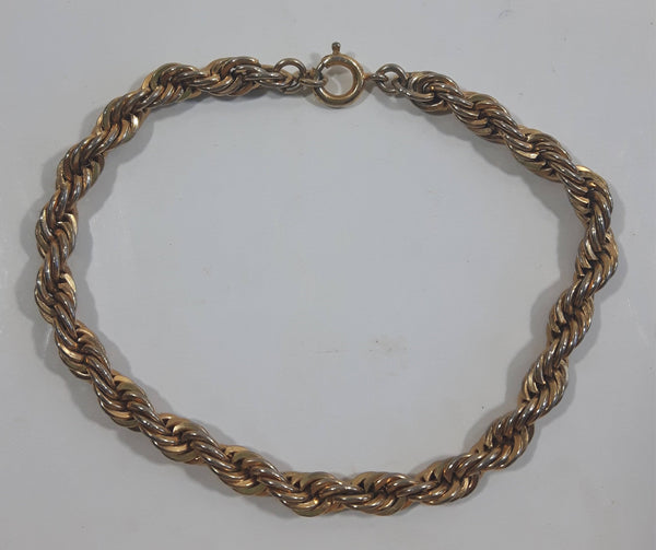 "Gold Tone Metal Twisted Rope Style 7"" Long Bracelet"