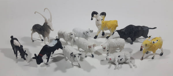 Vintage Plastic Farm Livestock Ram, Goats, Sheep, Bison Toys Made in Hong Kong Lot of 12