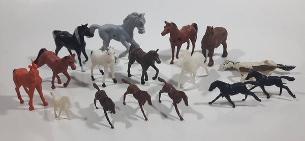 Vintage Plastic Farm Livestock Horses Toys Made in Hong Kong Lot of 16