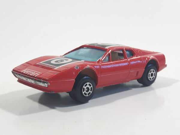 Vintage Yatming No. 1025 Ferrari 512 BB Berlinetta Boxer #6 Red Die Cast Toy Dream Sports Car Vehicle - Made in Hong Kong