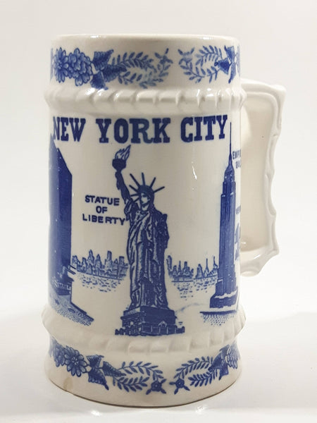 Vintage New York City Blue and White Ceramic Pottery Beer Stein Mug
