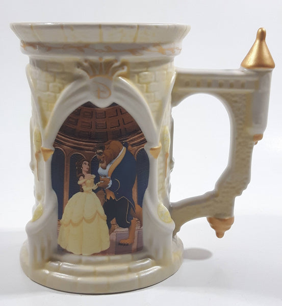 "Rare Disney Parks Beauty and The Beast 3D Embossed Castle Shaped 5"" Tall Ceramic Stein Mug"