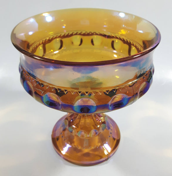 "Vintage Indiana Orange Amber Iridescent Rainbow 5 1/4"" Tall Carnival Glass Pedestal Style Thumbprint Compote Candy Dish"