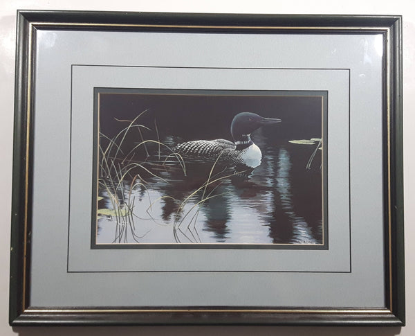 "Vintage Robert Bateman ""Lily Pads and Loon"" Wildlife Bird Nature Print Wood Framed 14"" x 17"""