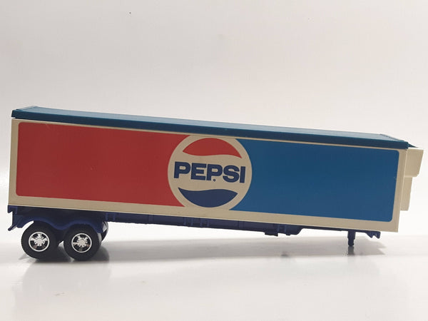 Vintage 1973 Lesney Matchbox Super Kings K-17 Trailer Pepsi Blue Red White Die Cast Toy Car Vehicle with Opening Rear Doors