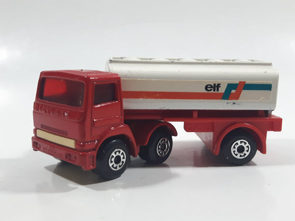 Rare Version Vintage 1973 Lesney Matchbox SuperFast 900 Leyland Freeway Gas Tanker Articulated Truck and Trailer ELF Red and White Die Cast Toy Car Vehicle