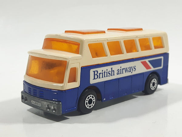 Vintage 1978 Lesney Matchbox Superfast  No. 65 Airport Coach Bus British Airways Blue and White Die Cast Toy Car Vehicle