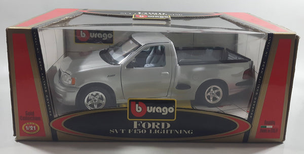 Burago Gold Collection Ford SVT F150 Lightning Silver Grey 1/21 Scale Die Cast Toy Car Vehicle with Opening Doors, Hood, and Tail Gate New in Box