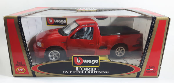 Burago Gold Collection Ford SVT F150 Lightning Red 1/21 Scale Die Cast Toy Car Vehicle with Opening Doors, Hood, and Tail Gate New in Box