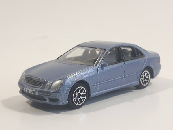 RealToy MB Mercedes Benz E-55 AMG Blue Grey 1/61 Scale Die Cast Toy Car Vehicle