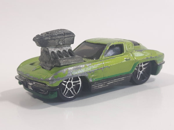 2010 Hot Wheels Toon'd Muscle '63 Corvette Tooned Metallic Green Die Cast Toy Car Vehicle