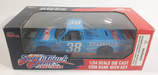 1995 Racing Champions Premier Edition NASCAR Super Truck Series by Craftsman #38 Sammy Swindell Channel Lock Blue 1/24 Scale Die Cast Coin Bank with Key New in Box