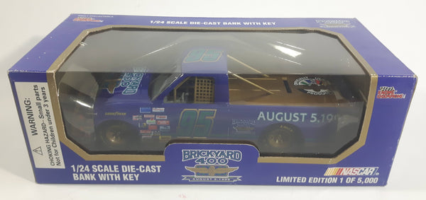 1995 Racing Champions Limited Edition 1 of 5,000 NASCAR #95 Brickyard 400 August 5, 1995 Purple 1/24 Scale Die Cast Coin Bank with Key New in Box
