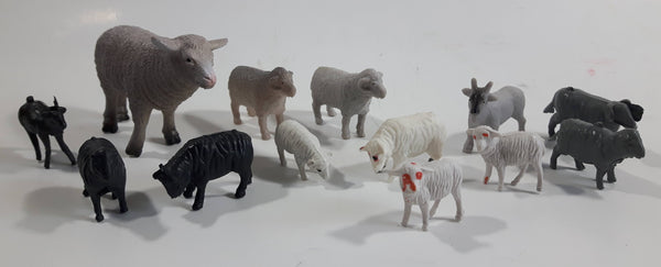Vintage Plastic Farm Livestock Ram, Goats, Sheep, Toys Made in Hong Kong and China Lot of 13