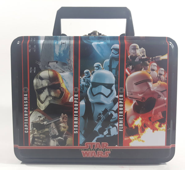 Star Wars The Force Awakens The First Order Captain Phasma, Stormtrooper, Flametrooper Tin Metal Lunch Box