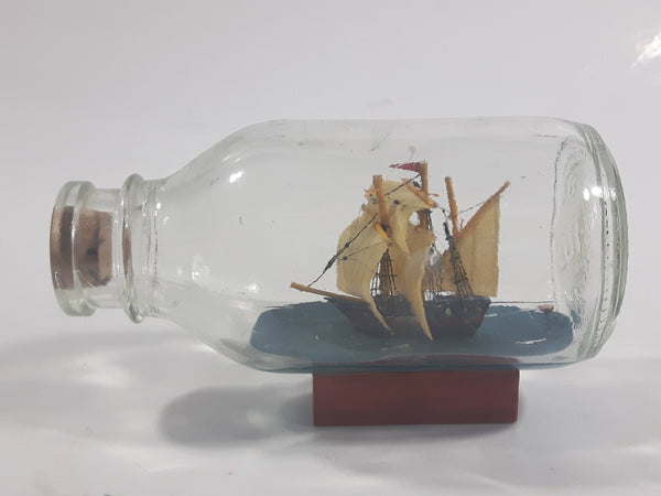 "Vintage Highly Detailed Miniature Tall Ship in Cork Top 4 1/4"" Long Glass Bottle"