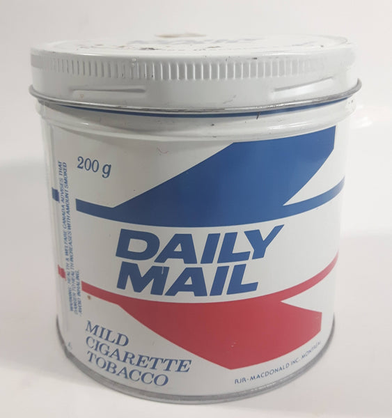 Vintage RJR Macdonald Daily Mail Mild Cigarette Tobacco White Red Blue Tin Metal Can