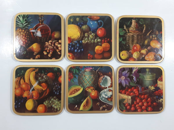 Set of 6 Fruit and Nut Themed Cork Backed Coasters