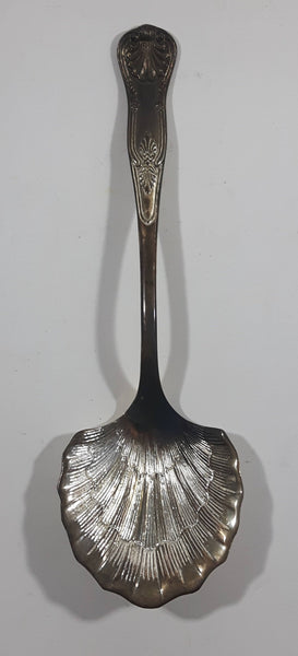"Vintage 9 3/4"" Silver Plated Clam Shell Shaped Serving Spoon"