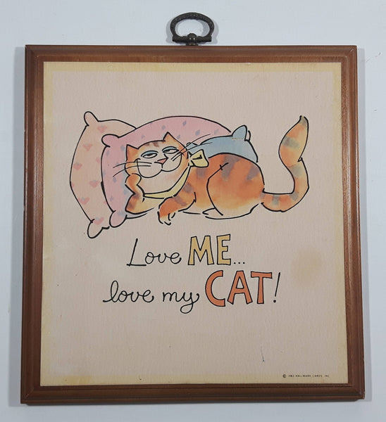 "Vintage 1983 Hallmark Cards ""Love ME... love my CAT!"" Hanging Wood Plaque"