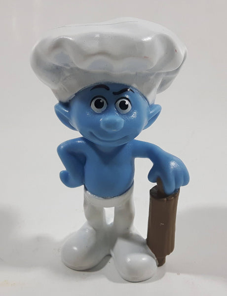 "2011 Peyo ""Baker Smurf with Rolling Pin PVC Toy Figure McDonald's Happy Meal"