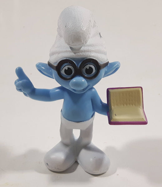 "2013 Peyo ""Brainy"" Smurf Lecturing While Holding a Book PVC Toy Figure McDonald's Happy Meal"